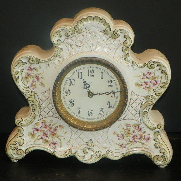20: PORCELAIN DRESDEN CLOCK  2258