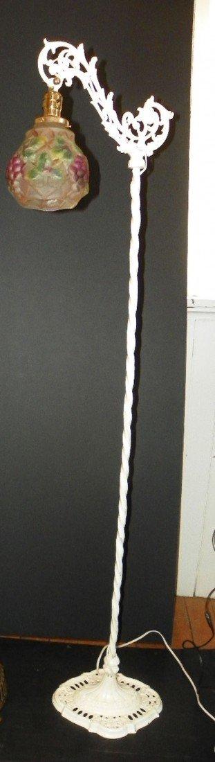 23: WHITE BRIDGE ARM WROUGHT IRON FLOOR LAMP 2253