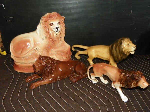 42: 4 PORC LION STATUES W/ ROYAL DUX STAFFORDSHIRE 2289