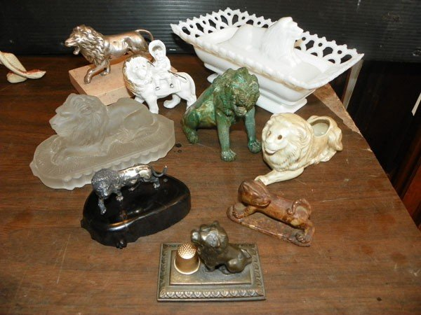 45: 9 MISC SM LION STATUES - GLASS, CHINA & BRONZE 2184