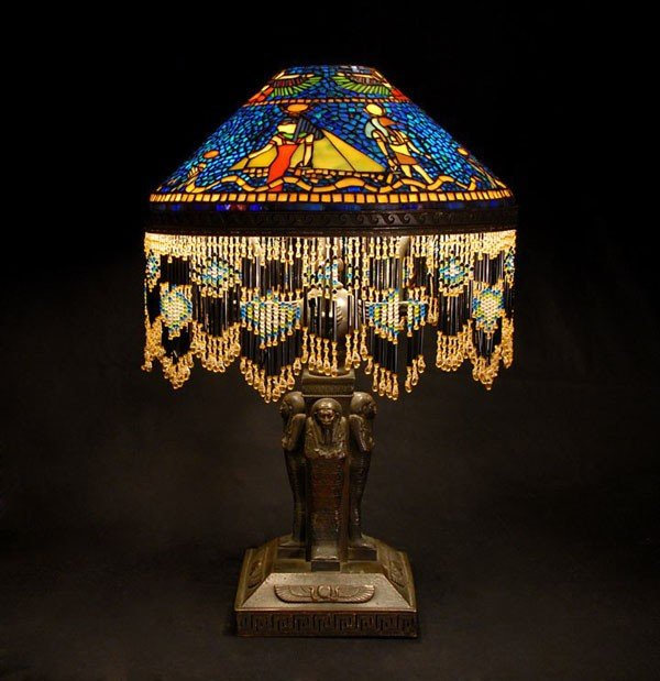 210D: MOSIAC STAINED GLASS EGYPTIAN TABLE LAMP 2464