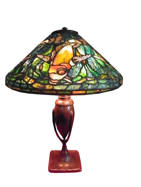 598: SIGNED TIFFANY STUDIOS LAMP W/ FISH SHADE 2462