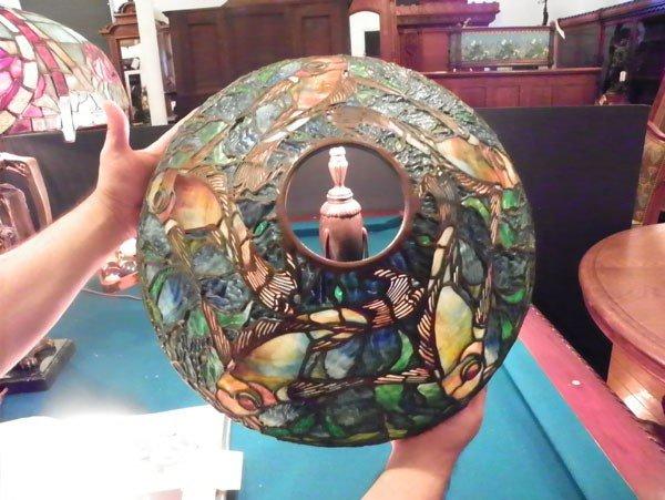 598: SIGNED TIFFANY STUDIOS LAMP W/ FISH SHADE 2462 - 3