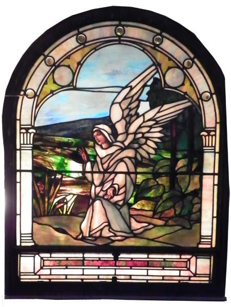 604: SIGNED TIFFANY ARCH TOP ANGEL WINDOW 1551