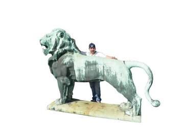 614: HUGE EXTERIOR BRONZE ROARING LION SCULPTURE 2003