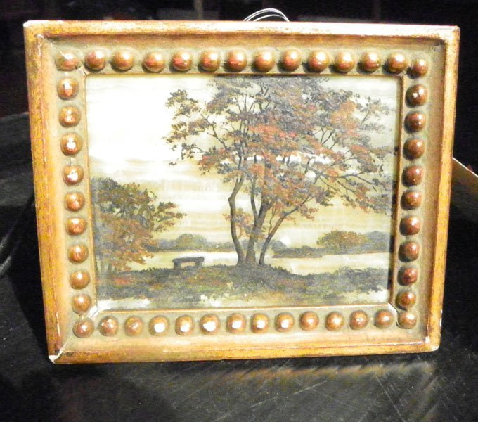 3: FRAMED VICTORIAN PAINTING ON ONYX OF LANDSCAPE  1649
