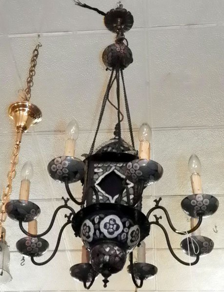 13: 8 ARM CHANDELIER WITH COLORFUL ENAMEL WORK 1574
