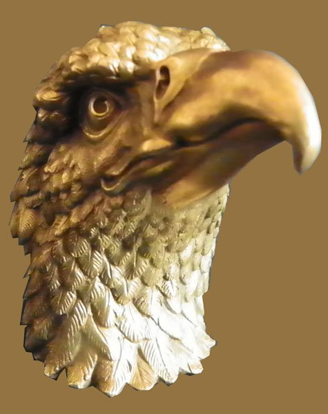 14: DETALIED GOLD DORE BZ EAGLE HEAD PAPER WEIGHT 1642