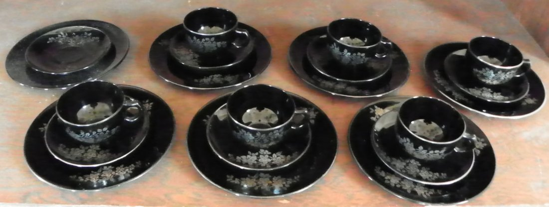 19: 20PC SILVER OVERLAY ON BLACK GLASS SET 1658