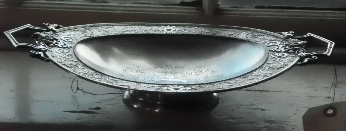 24: VICTORIAN HANDLED SILVER PLATE CENTER BOWL 1585
