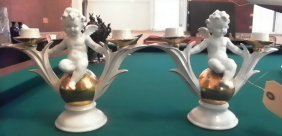 BEAUTIFUL PAIR OF PORCELIAN CANDLE STICKS  1601