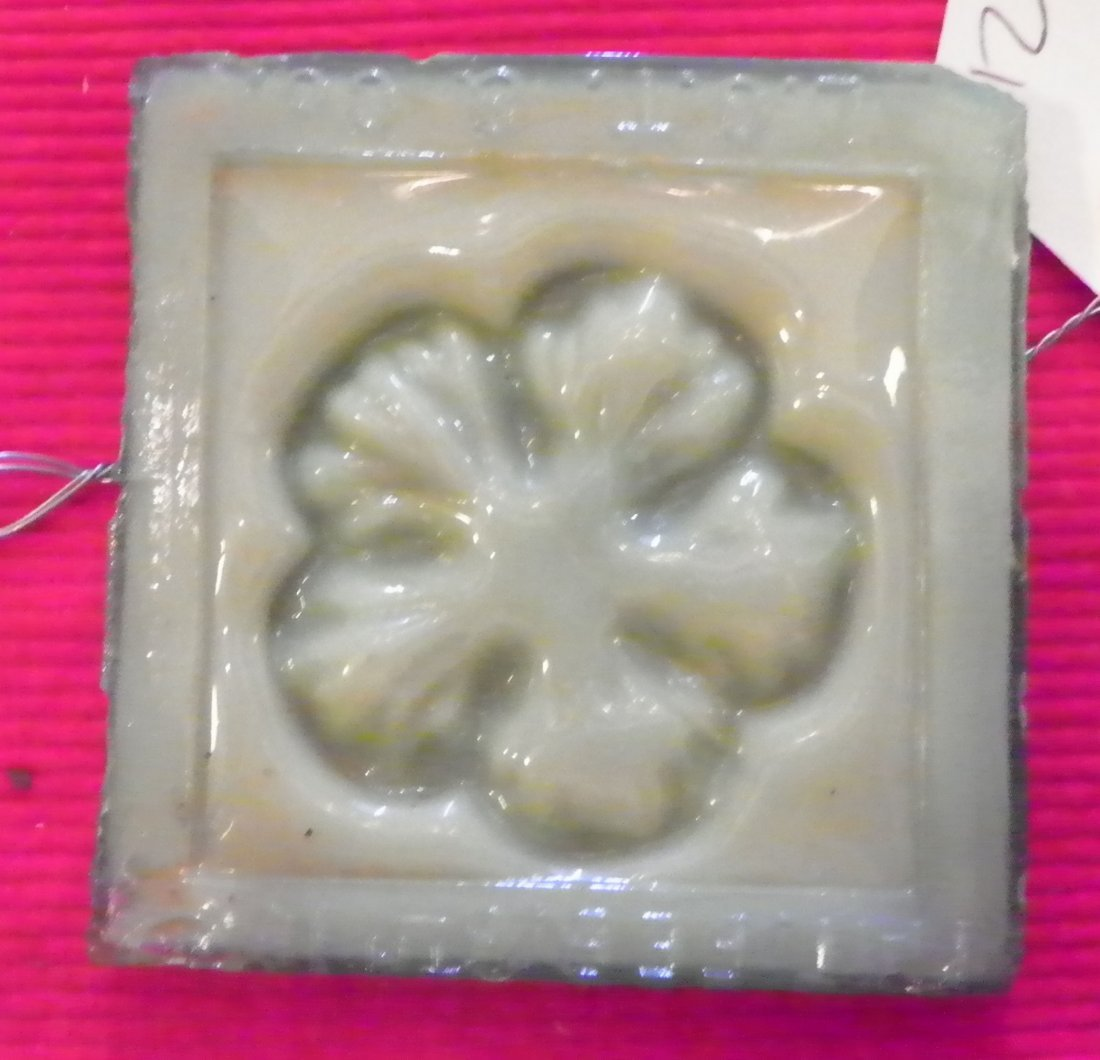 41: REMARKABLE SGND TIFFANY ART GLASS FLORAL TILE 4716A