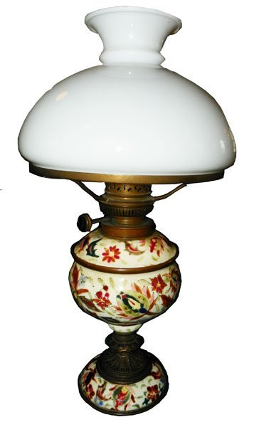 54: BRONZE AND PORCELAIN OIL LAMP WITH WHITE SHADE 1597
