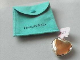 14K YELLOW GOLD TIFFANY HEART LOCKET W/ BAG 1551
