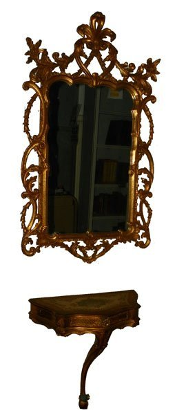 65: LOVELY GILT WOOD MIRROR AND CONSOLE TABLE 4731