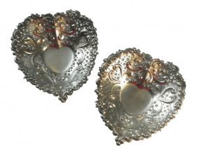 TWO GORHAM STERLING FOOTED HEART SHAPED BOWLS  1611
