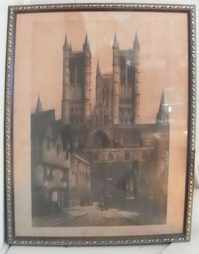 FRAMED ANTIQUE PRINT OF LINCOLN CATHEDRAL 4707