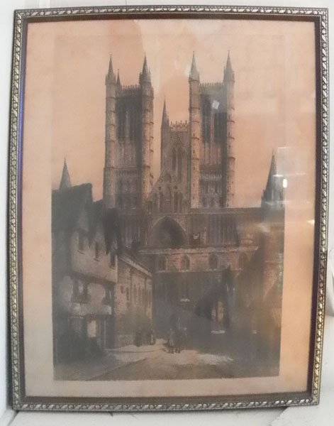73: FRAMED ANTIQUE PRINT OF LINCOLN CATHEDRAL 4707