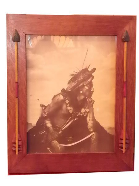 82: INDIAN PRINT OF CLEAR SIOUX NO51A IN OAK FRAME1536A