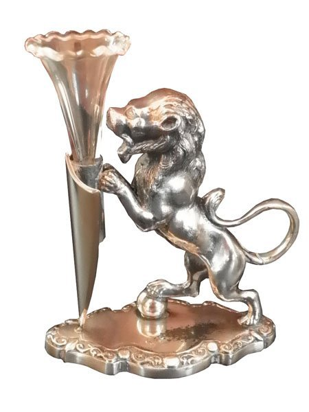 89: SILVER PLATED SM EPERGNE WITH STANDING LION 4653A