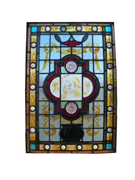 97: AMERICAN EASTLAKE VICTORIAN WINDOW W/JEWELS 1533A
