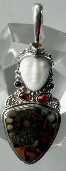 121: SAJEN GODDESS STERLING PENDANT WITH STONES  1633