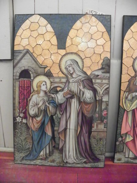 128: HAND PAINTED RELIGIOUS GLASS SCENE OF SAINT 15761B