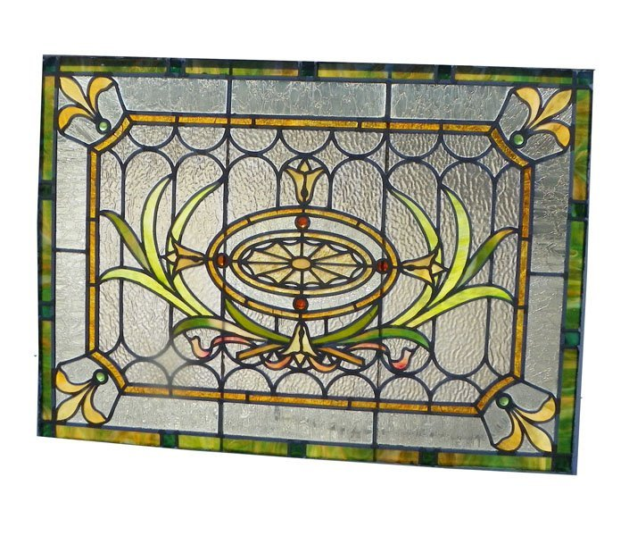 135: STAINED AND RIPPLED GLASS WINDOW W/SPIDER WEB 4640