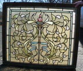 AMERICAN LEADED AND STAINED GLASS WINDOW 1534