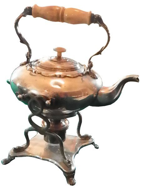 152: SILVER OVER COPPER KETTLE ON STAND W/ BURNER  1593