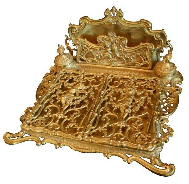 153: CAST BRONZE ART NOUVEAU DESK SET WITH CUPIDS 1516