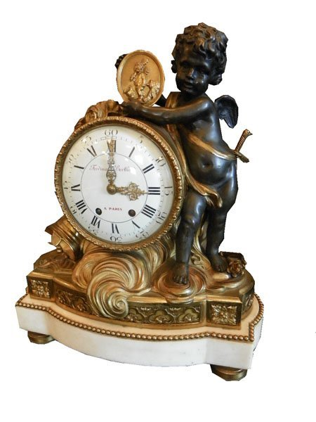 216: CAST BRONZE AND MARBLE CUPID MANTLE CLOCK 1514