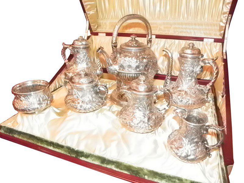 279: GORHAM 7PC STERLING TEA SET PRESENTATION CASE 4700