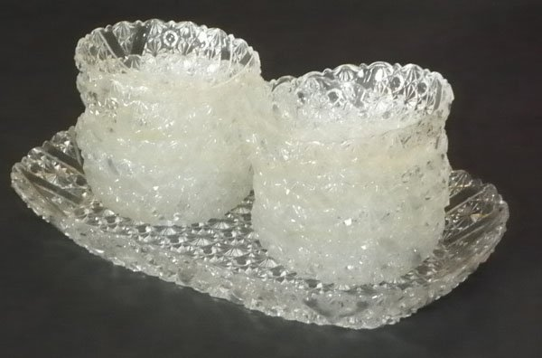 13 PIECE CUT GLASS TRAY SET WITH SAUCERS 4672