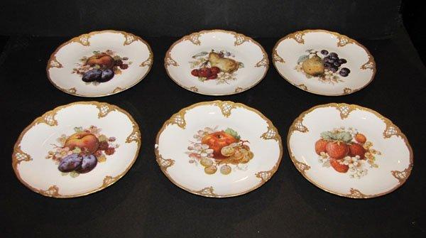 SET OF 6 MARKED FURSTENBERG PLATES W/ FRUIT 1525