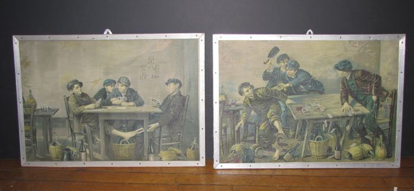 2 LITHOS ON CANVAS OF BOYS PLAYING CARDS 5501