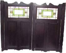 389: PAIR SALOON DOORS W LEADED STAINED GLASS 583
