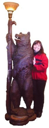 543: LIFE SIZE BLACK FOREST BEAR TORCHIERE LIGHT 13904