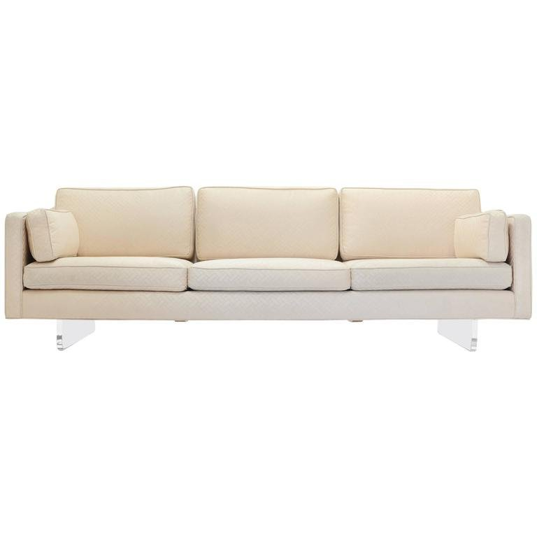 Sofa with Lucite Sled Bases after Charles Hollis Jones