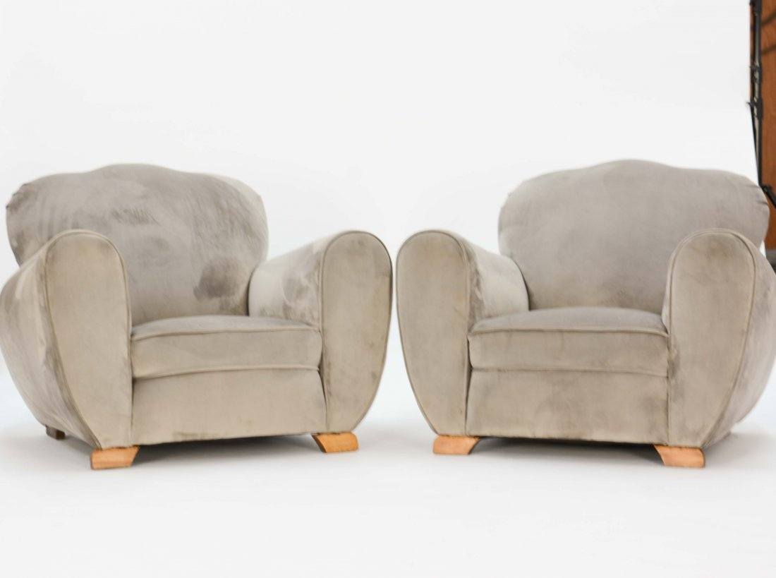 !920's French Art Deco Club Chairs in Grey  Velvet