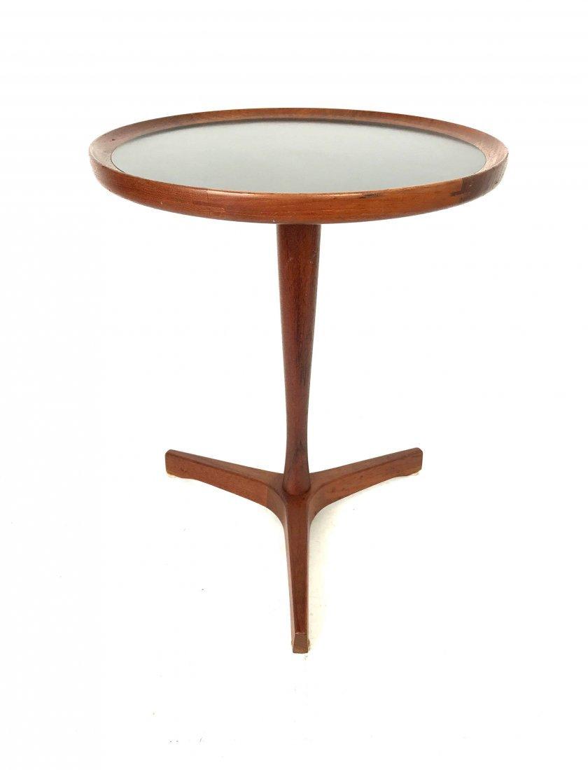 Hans Andersen Teak Side Table with Black Veneer Top