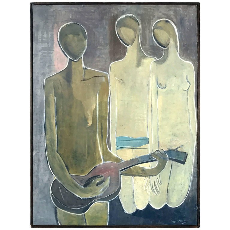 '53 Oil Painting 'Musical Composition' Stuart H. Church