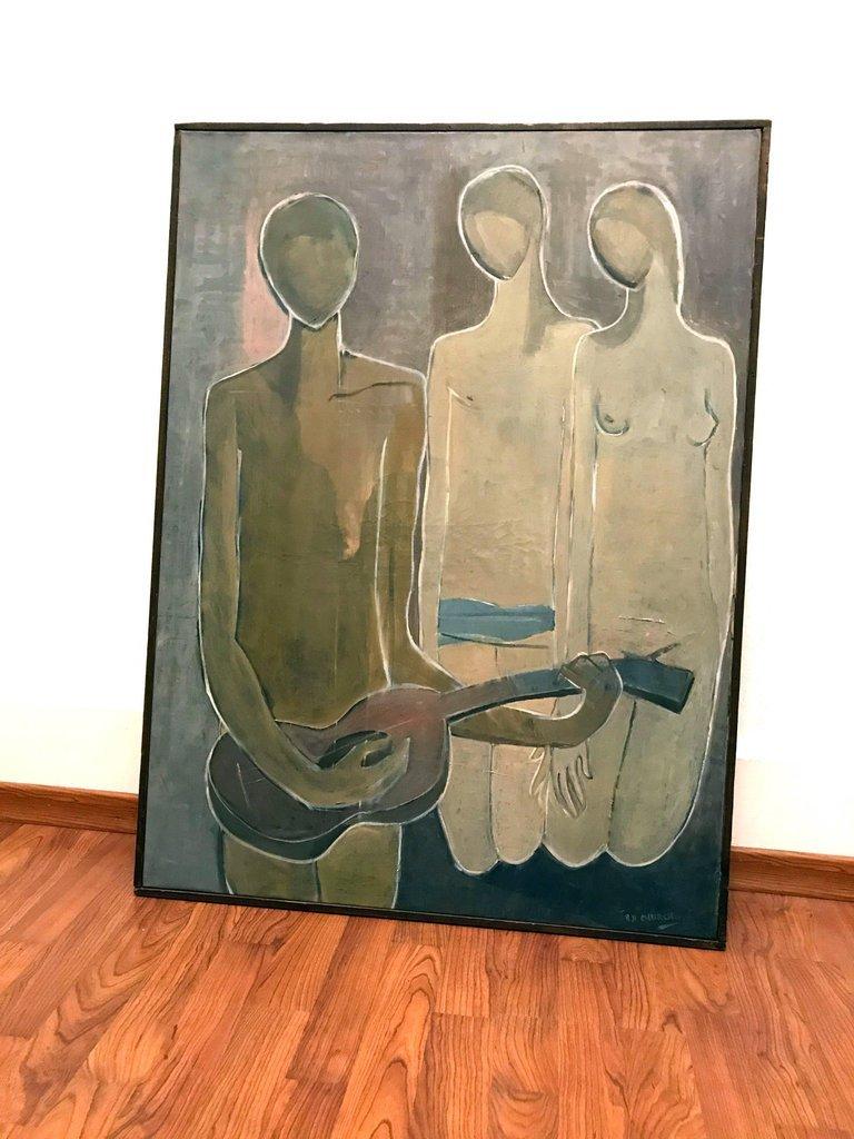 '53 Oil Painting 'Musical Composition' Stuart H. Church - 2