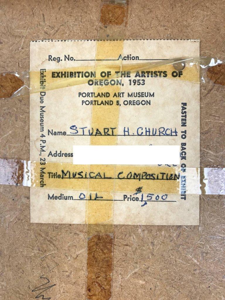 '53 Oil Painting 'Musical Composition' Stuart H. Church - 4