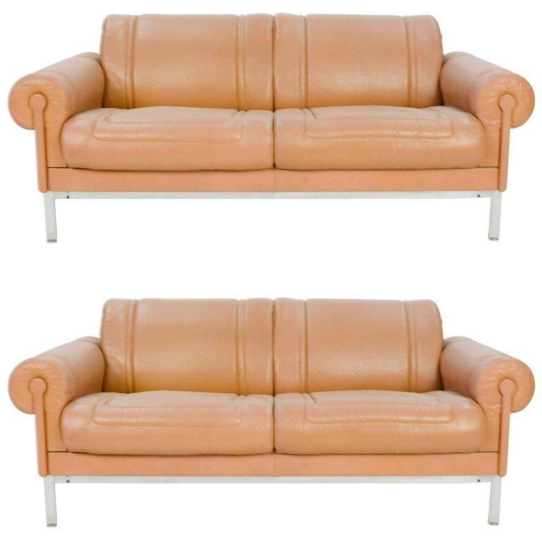 Pair of Maison Jansen Loveseats in Buffalo Leather