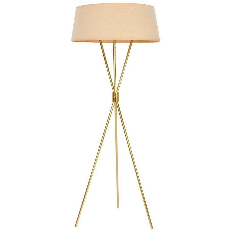 Elegant T.H. Robsjohn-Gibbings Tripod Floor Lamp by