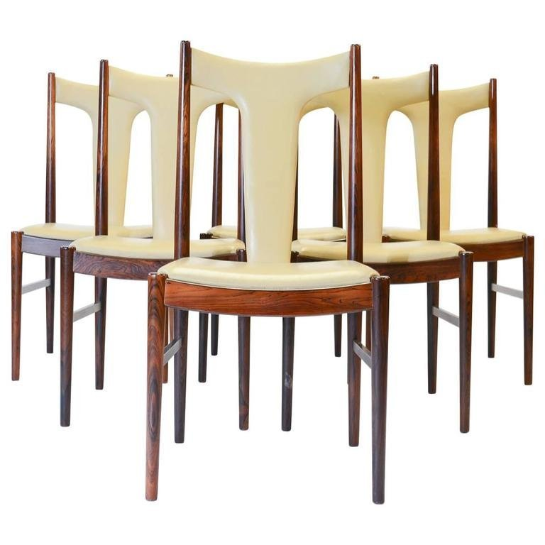 Six Rosewood Dining Chairs in Leather by Arne Vodder