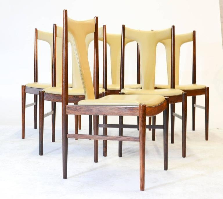 Six Rosewood Dining Chairs in Leather by Arne Vodder - 2