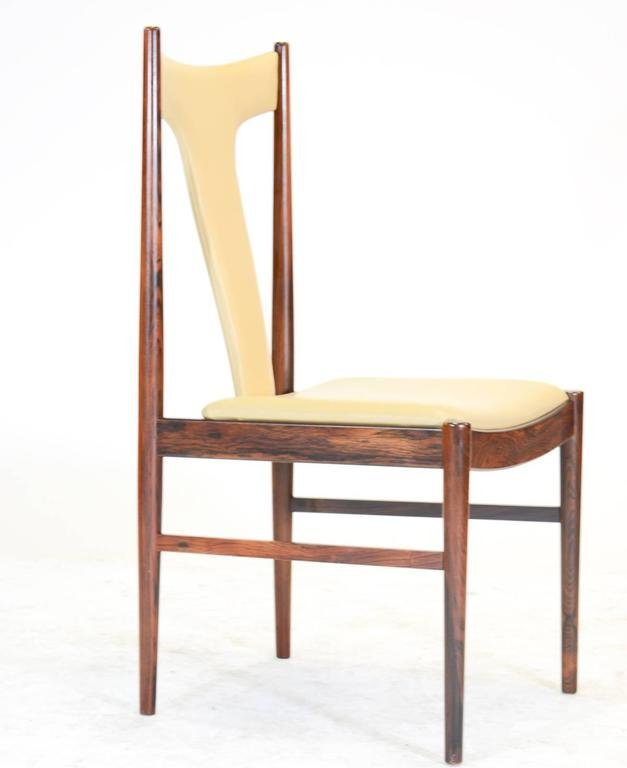 Six Rosewood Dining Chairs in Leather by Arne Vodder - 3