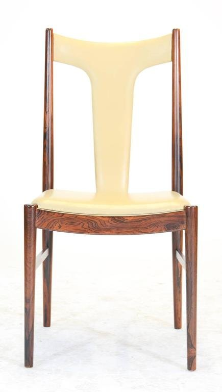 Six Rosewood Dining Chairs in Leather by Arne Vodder - 4